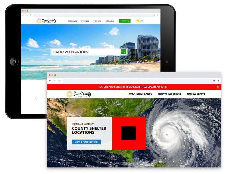 County website with hurricane image header and alerts