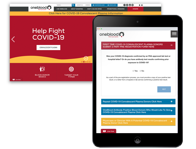 Phone and web page view of oneblood website with COVID-19 information
