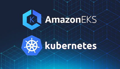 AmazonEKS and Kubernetes logos on a blue texture background