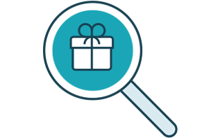 Magnifying glass with wrapped gift icon
