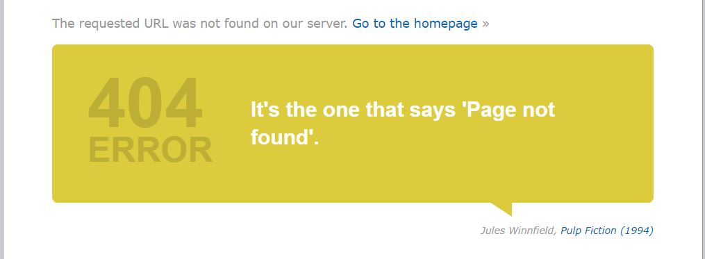 Yellow text bubble with a quote about 404 page