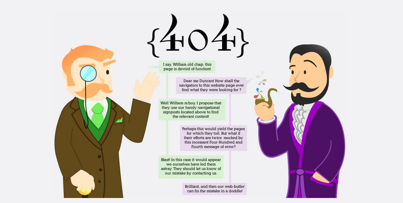 Two cartoon men (one holding a pipe) have a conversation in highly proper English about the inconveniences of a 404 page.