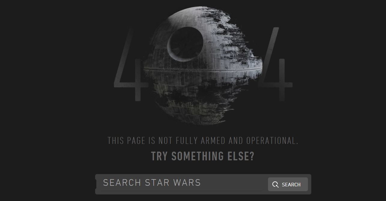 Star Wars Death Star circular weapon partially completed and serving in place of the zero in 404.