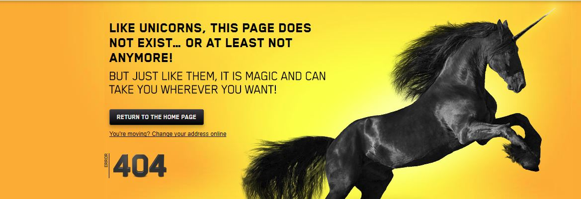 Black unicorn on its hind legs with a 404 error